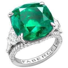 Platinum 13.69ct Cushion Cut Emerald Ring Set With White Diamonds