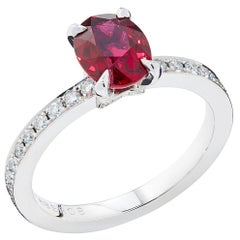 Fabergé Platinum Oval Ruby and Diamond Chevron Ring