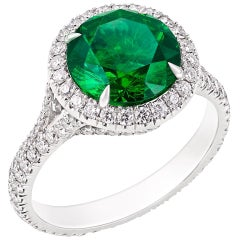 Fabergé Platinum Round Demantoid and Diamond Set Halo Ring
