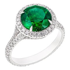 Platinum Round Demantoid & Diamond Set Halo Ring
