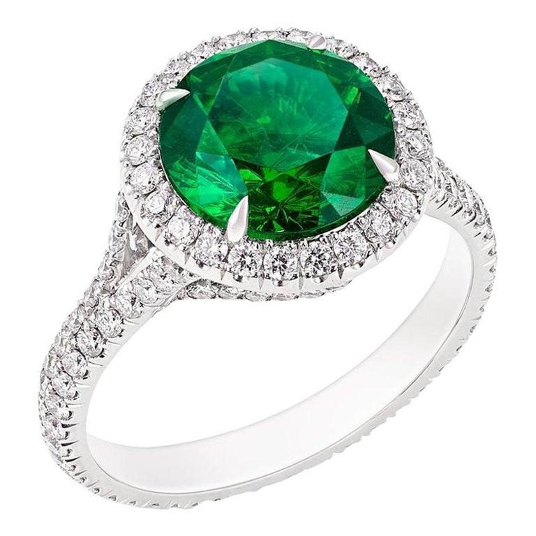 Platinum Round Demantoid & Diamond Set Halo Ring For Sale