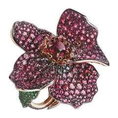 Poppy 18K Gold & Silver Spinel Flower Ring With Coloured Garnets, Tsavorites & R