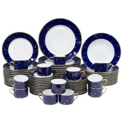 Fabergé Porcelain Dinner Set for 12, Cobalt Blue Galaxy Pattern