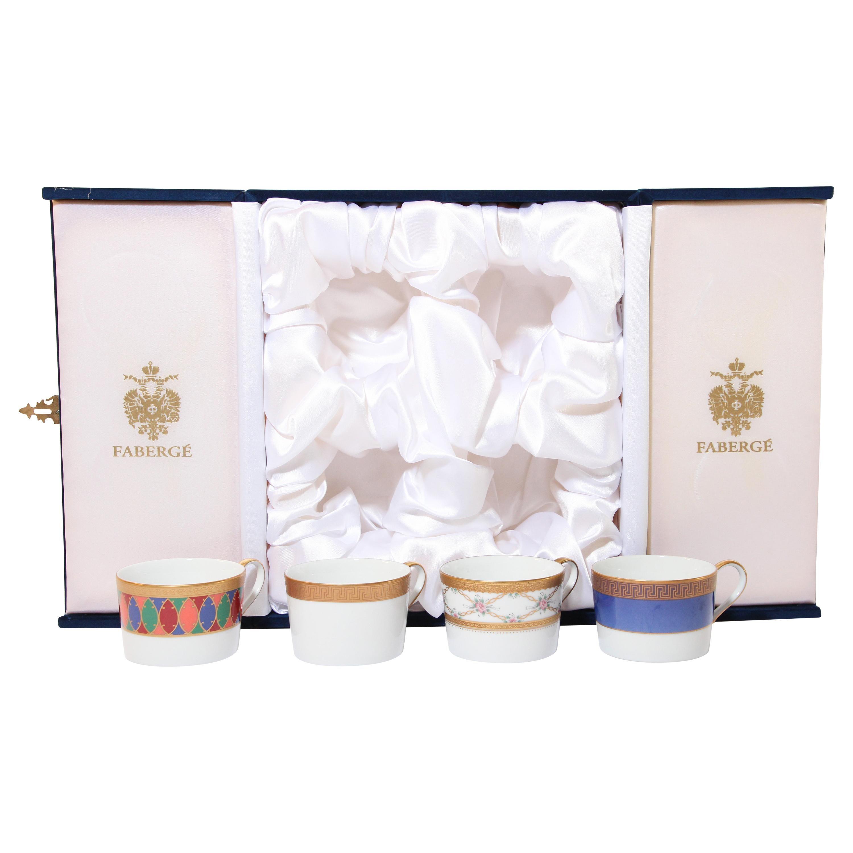 Fabergé Porcelain Tea, Coffee Cups Set of Four in a Velvet Case