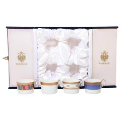 Fabergé Porcelain Tea, Coffee Cups Set of Four in a Velvet Case