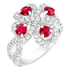 Fabergé Imperial Quadrille White Gold Ruby & Diamond Ring