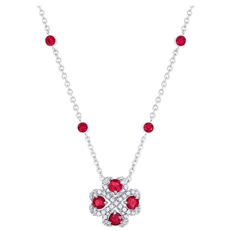 Fabergé Imperial Quadrille White Gold Ruby & Diamond Pendant