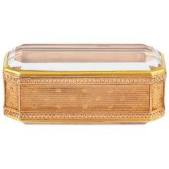 Fabergé Rectangular Gold and Rock Crystal Box