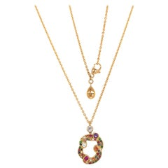 Modern Fabergé Rococo 18 Karat Yellow Gold Multicolored Pendant Necklace