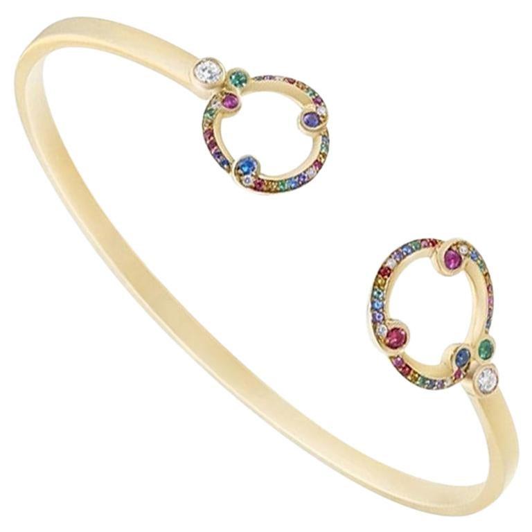 Fabergé Rococo Yellow Gold & Multicoloured Gemstone Open Set Bracelet
