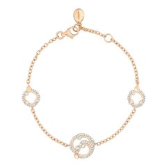Fabergé Rococo Pavé Diamond Rose Gold Drop Round White Diamonds Bracelet