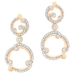 Fabergé Rococo Pavé Diamond Rose Gold Drop Round White Diamonds Earrings