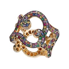 Fabergé Rococo Yellow Gold Multicoloured Gemstone Grand Frame Ring