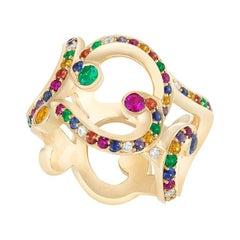 Fabergé Rococo Yellow Gold & Multicoloured Gemstone Grand Ring