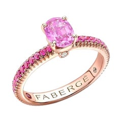 Fabergé Rose Gold Pink Sapphire Ring with Pink Sapphire Shoulders 831RG2740