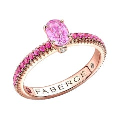 Fabergé Rose Gold Pink Sapphire Ring with Pink Sapphire Shoulders 831RG2743