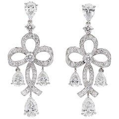 Fabergé Round White Diamonds & Pear Shape Diamonds Soie Blanche Earrings