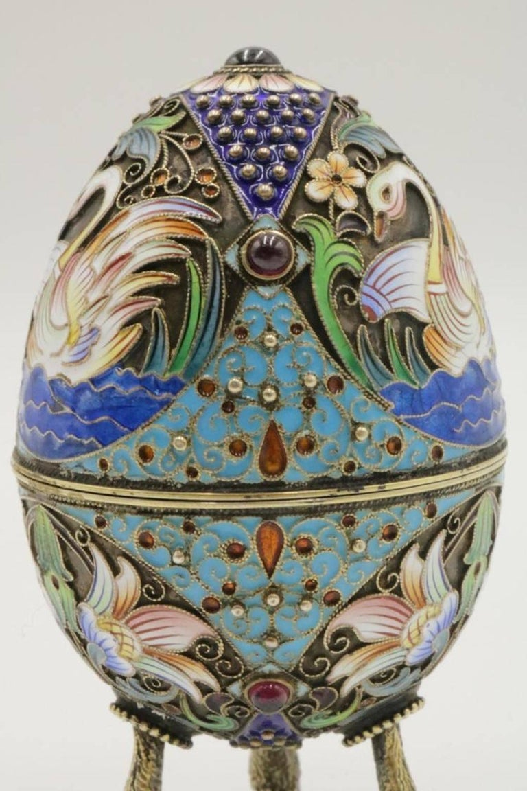 Faberge Russian 84 Silver Enamel And Ruby Footed Egg At 1stdibs