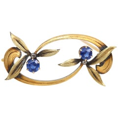 Faberge Russian Sapphire Floral Brooch Pin Original Box 56 Hallmark Gold, 1900