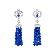 Fabergé Sapphire Round Sapphire and White Diamonds Impératrice Tassel Earrings