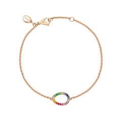 Fabergé Sasha Rose Gold Rainbow Multicoloured Gemstone Egg Chain Bracelet