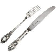 Fabergé Silver Dinner Knife and Fork, Moscow, circa 1900