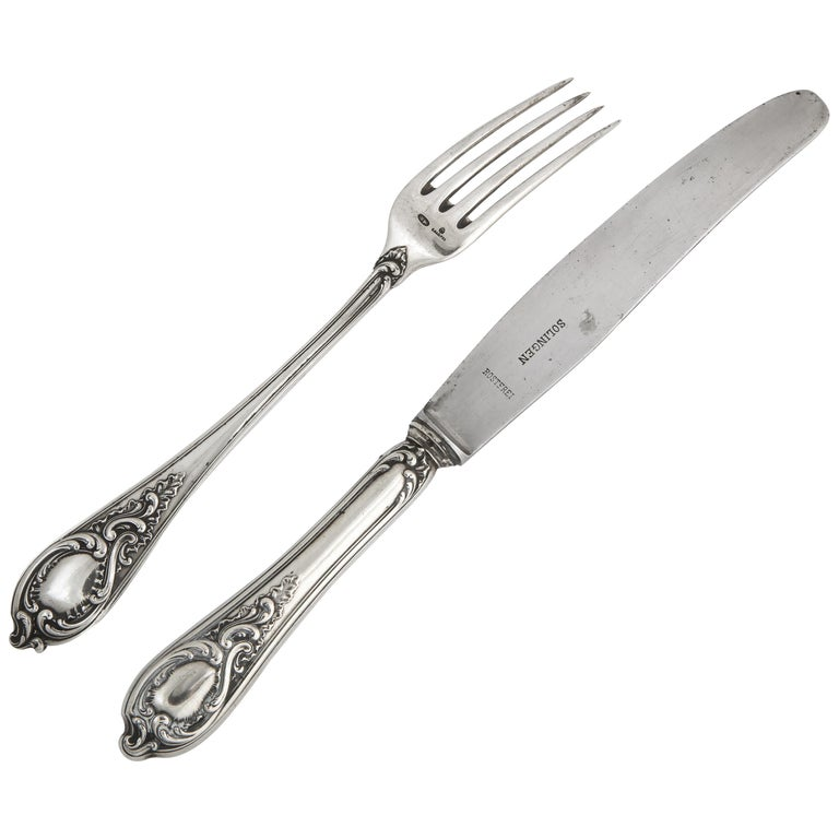 Fabergé Silver Dinner Knife and Fork, Moscow, circa 1900 For Sale