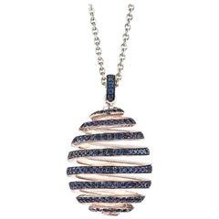 Fabergé Imperial White Gold Pavé Blue Sapphire Spiral Egg Pendant