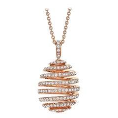 Fabergé Essence Rose Gold Diamond Pavé Spiral Egg Pendant