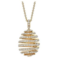 Fabergé Essence Yellow Gold Diamond Pavé Spiral Egg Pendant