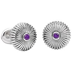 Sterling Silver Round Fluted Cufflinks with Amethyst