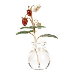 Fabergé Style Exquisite Wild Strawberry Stem with Crystal Vase