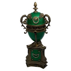 Faberge Style Guilloche Egg Gilt Silver Annular Serpent Clock