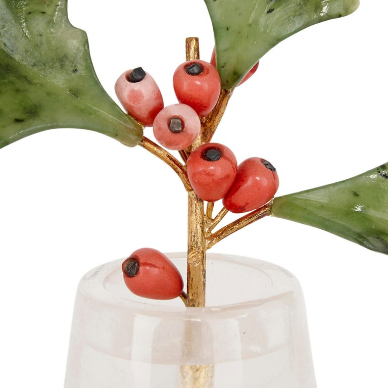 Fabergé Style Holly Sprig Model with Gold and Rock Crystal In Good Condition For Sale In London, GB