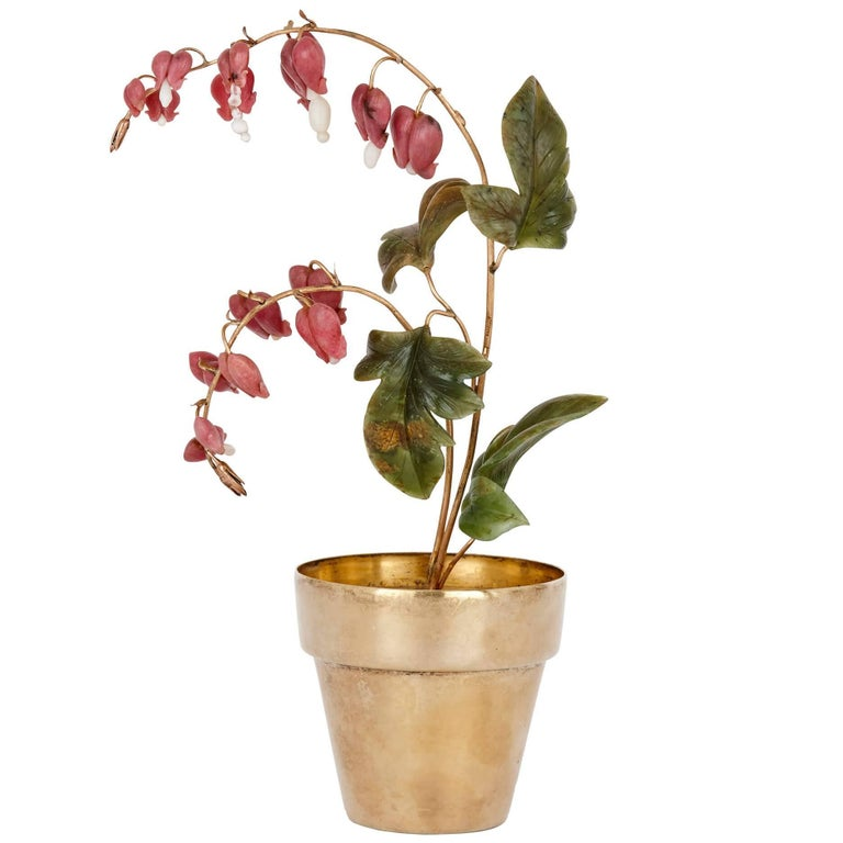 Faberge Style Model of Bleeding Heart Flowers, Retailed by Tiffany For Sale