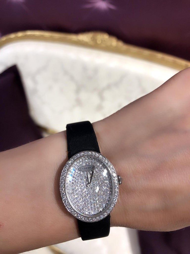 Fabergé Timepieces Anastasia Diamonds Ladies 18 Karat White Gold Watch For Sale 1