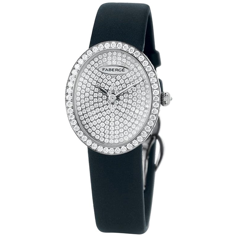 Fabergé Timepieces Anastasia Diamonds Ladies 18 Karat White Gold Watch For Sale