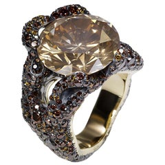 Tree Root 13ct Brown Diamond Ring Encrusted With Yellow, Orange & Brown Diamonds