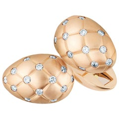 Treillage 18K Brushed Rose Gold Diamond Cufflinks
