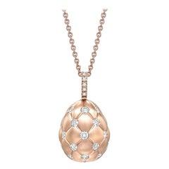 Treillage Brushed Rose Gold & Diamond Set Egg Pendant
