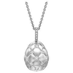 Treillage Brushed White Gold & Diamond Set Egg Pendant