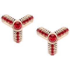 Trio Rose Gold Ruby Fluted Earrings