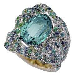 Fabergé Vagabonde Green Chrysoberyl Chunky Ring With Diamonds & Blue Gemstones