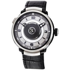 Fabergé Visionnaire DTZ 18 Karat White Gold and Sapphire Men's Watch