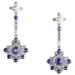 Fabergé White Diamonds & Cabochon Blue Sapphire Dentelle de Perles Stud Earrings