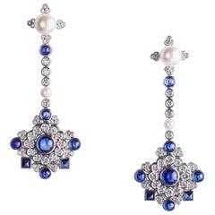 Fabergé White Diamonds & Cabochon Blue Sapphire Dentelle de Perles Stud Earrings