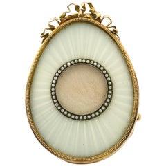 Fabergé White Enamel Egg Shaped Miniature Frame