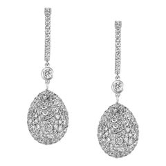 Fabergé White Gold and White Diamonds Zarista Egg 18 Carat Lever-Back Earrings