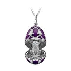 Fabergé White Gold Purple Guilloché Enamel Monkey Surprise Locket 1310FP2348