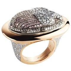 White, Pink, Grey & Black Diamond Scarab Beetle Ring In 18K Rose Gold